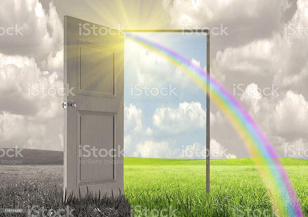 Sun rays and open door royalty-free stock photo