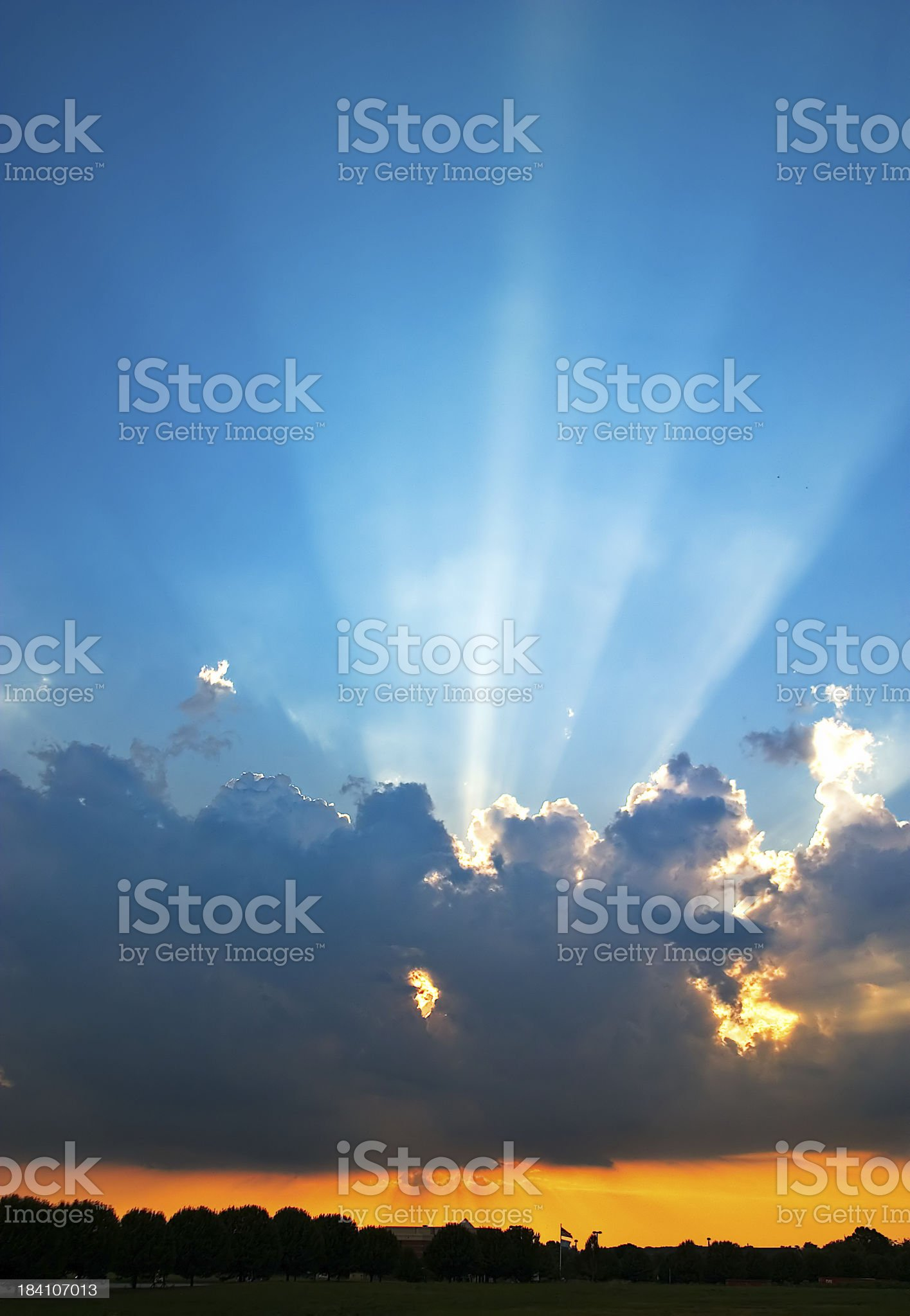 Sun Rays From Behind a Cloud royalty-free stock photo