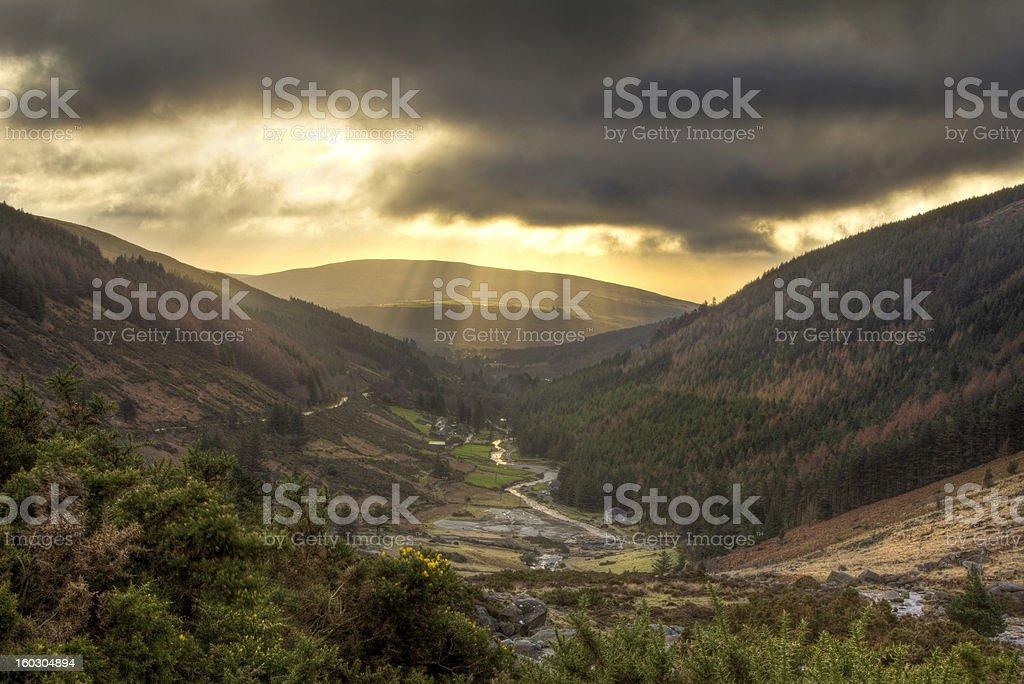 Sun rays in Irish countryside royalty-free stock photo
