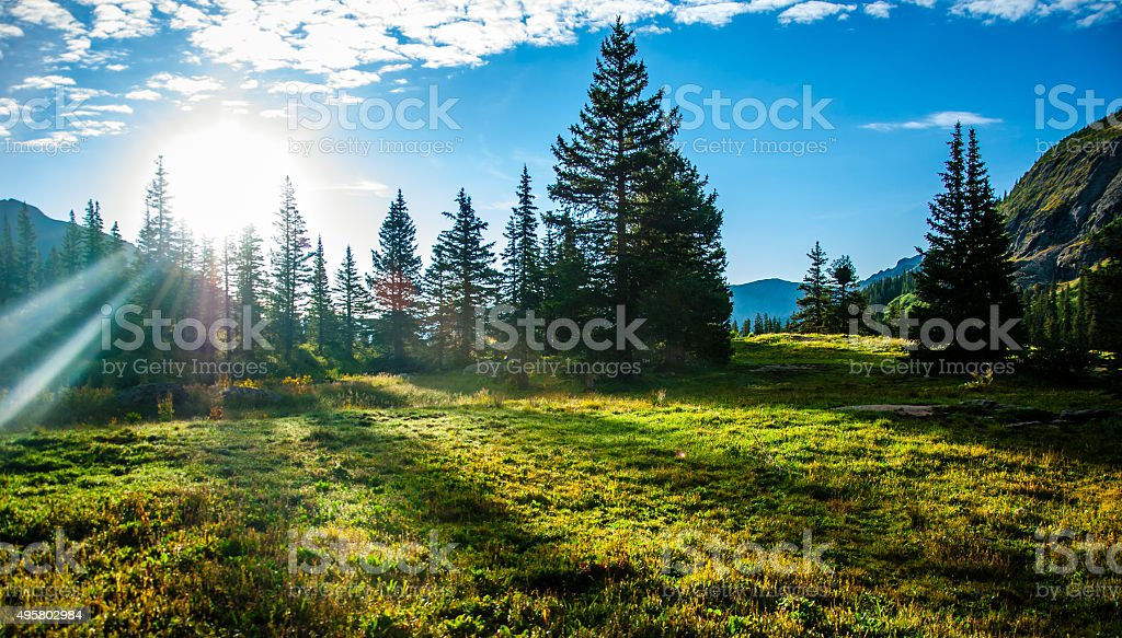 Sun Rays on My face Colorado Rocky Mountains stock photo