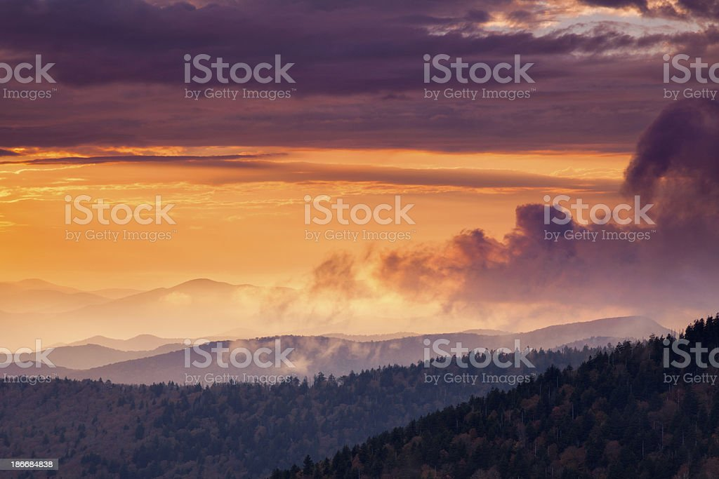 Sun Rays Over Mountains royalty-free stock photo