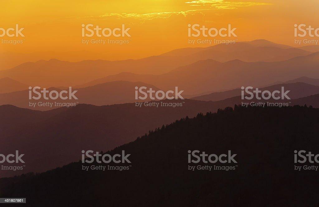 Sun Rays Over Mountains stock photo
