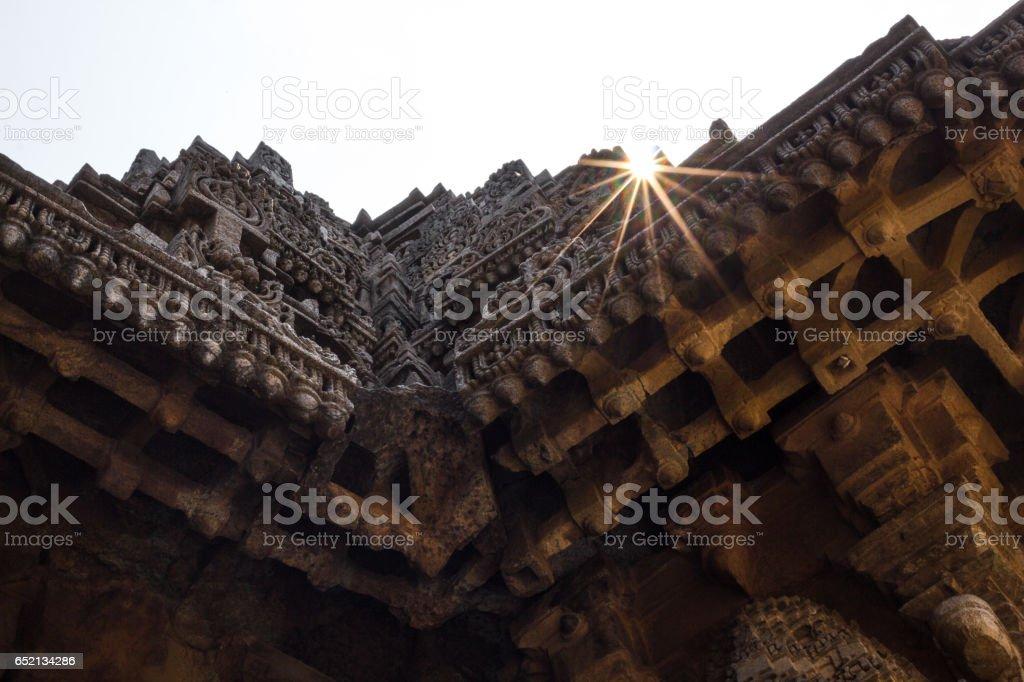 Sun rays piercing the walls of Chennakesava Temple, Somanathapura, near Mysore, Karnataka, India, Asia. stock photo