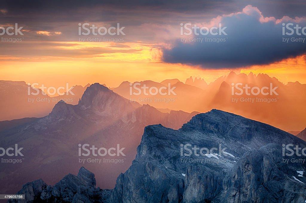 Sun rays, sunlight on mountain, Alp stock photo