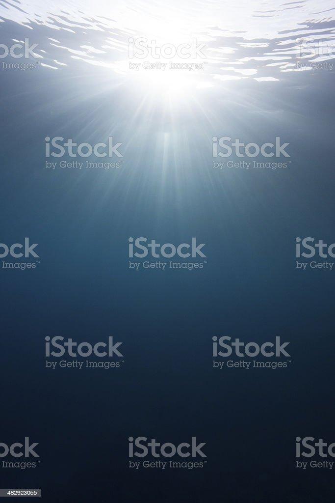 Sun rays underwater royalty-free stock photo