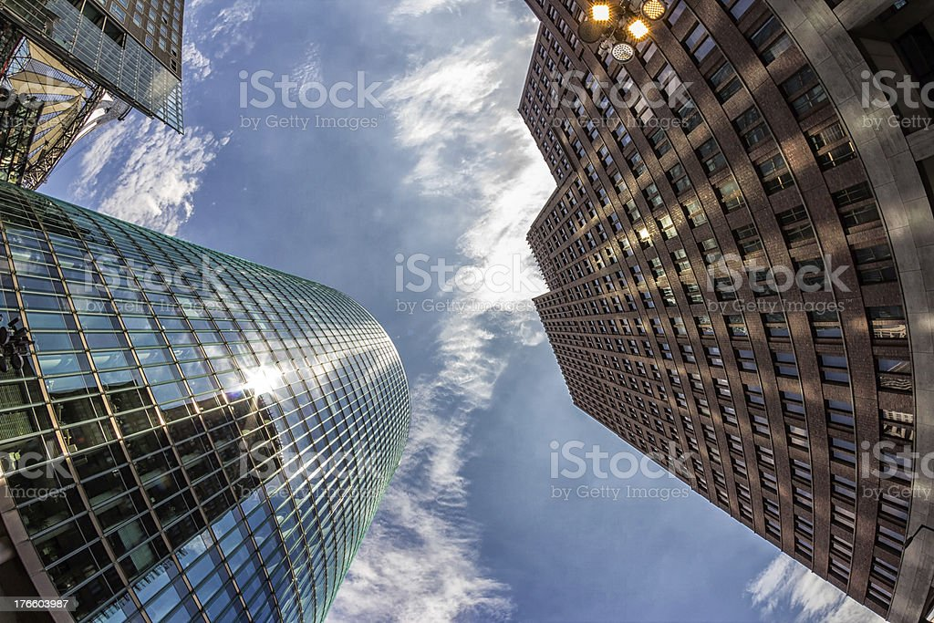 Sun Reflections on Modern Buildings in Berlin, Germany stock photo