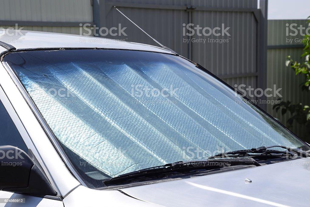 Sun Reflector windscreen stock photo