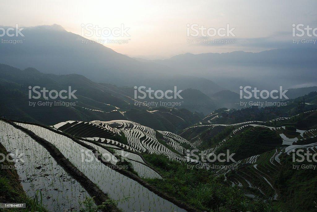 Sun rise at terrace stock photo