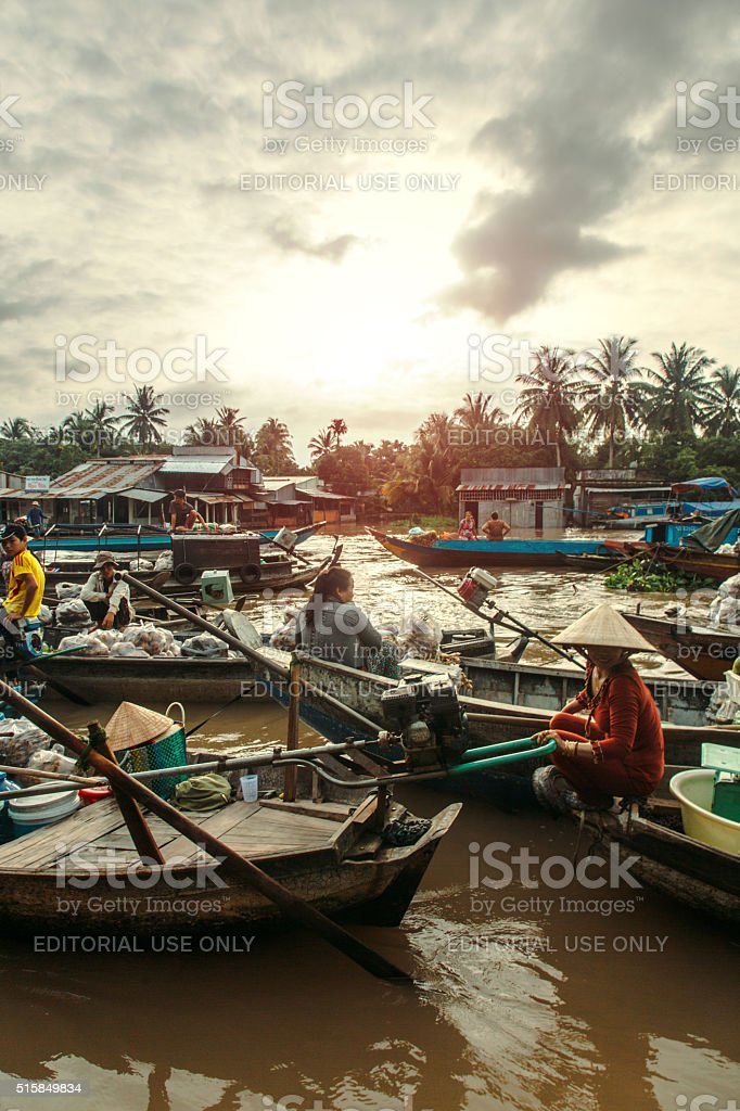 Sun Rise at The Can Tho Floating Market stock photo