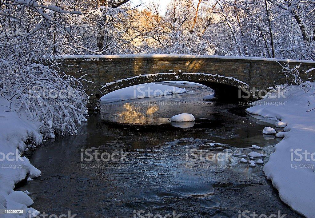 Sun Rise for Winter Bridge royalty-free stock photo