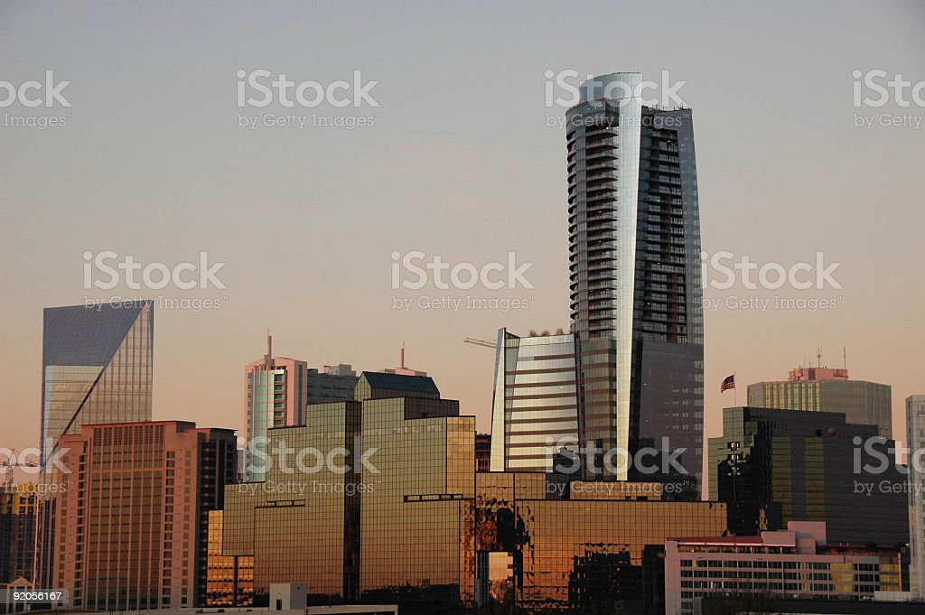 sun rise in Atlanta, Buckhead stock photo
