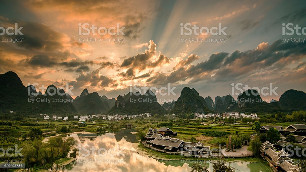 Sun rise on karst mountains and river Li in Guilin stock photo