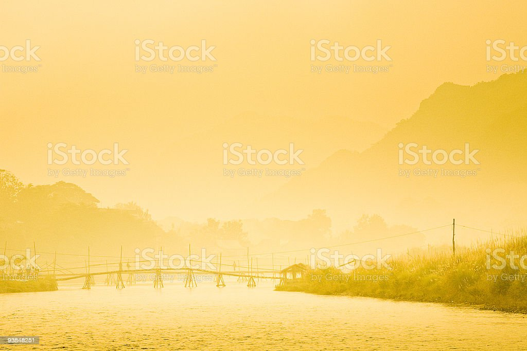 Sun rise. Vang Vieng, Laos. stock photo
