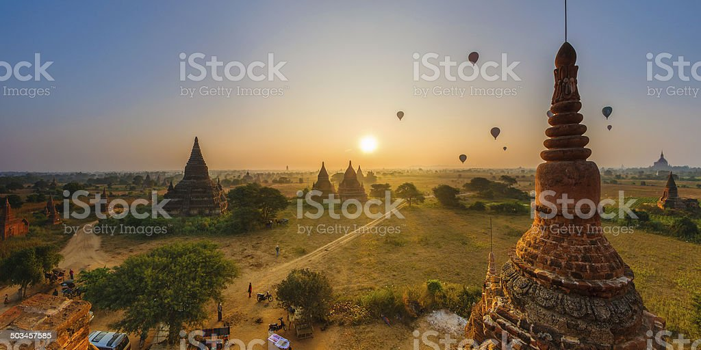 Sun rises in Bagan, Myanmar stock photo