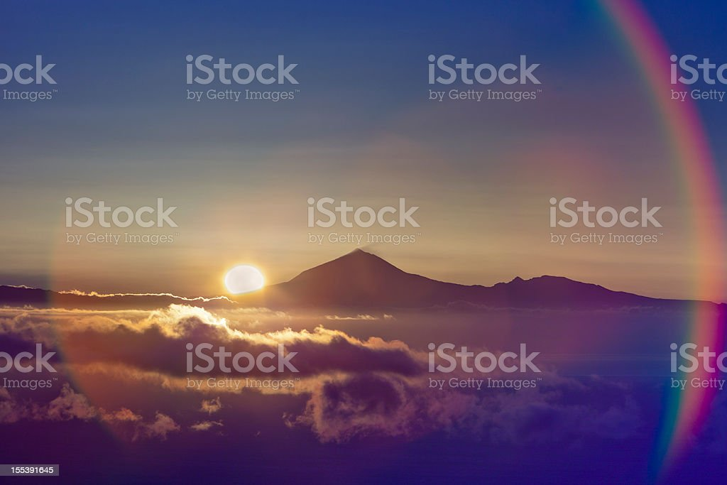 Sun Rising behind El Teide stock photo