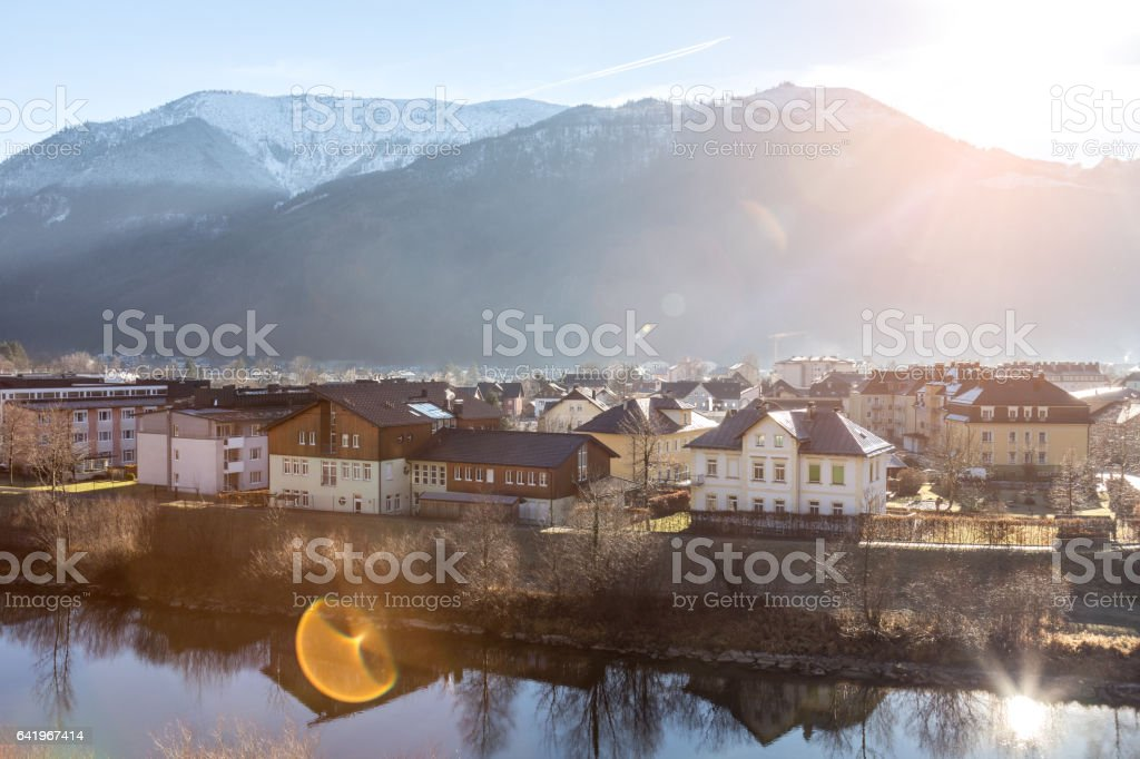 Sun rising in small town stock photo
