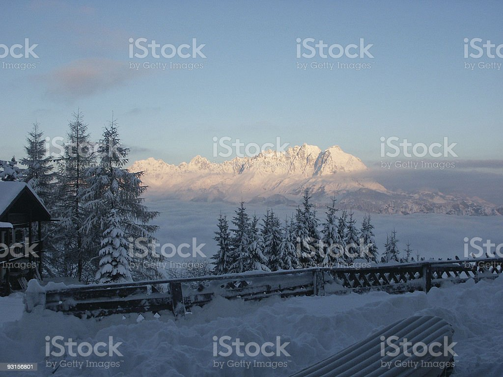 Sun rising in the alps royalty-free stock photo