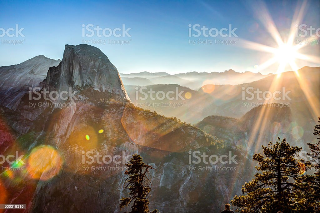 Sun Rising on Half Dome stock photo
