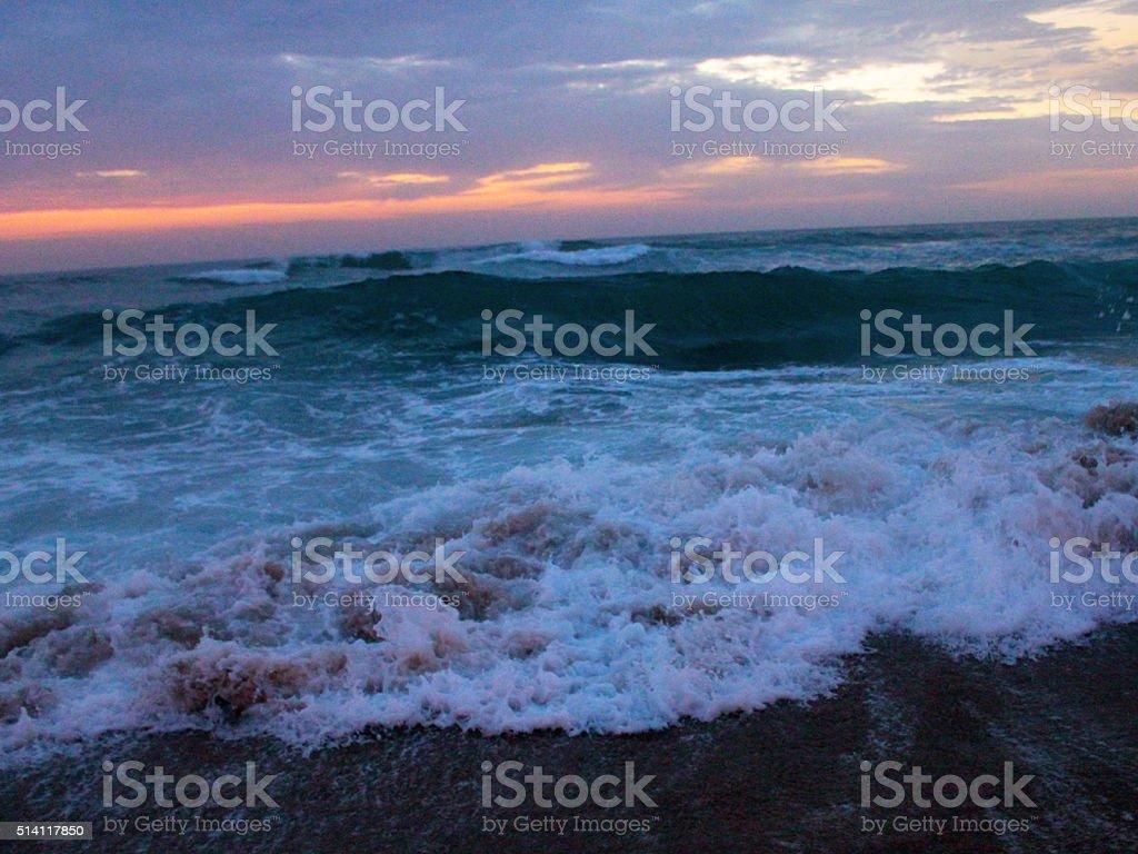 Sun Rising on the Beach stock photo