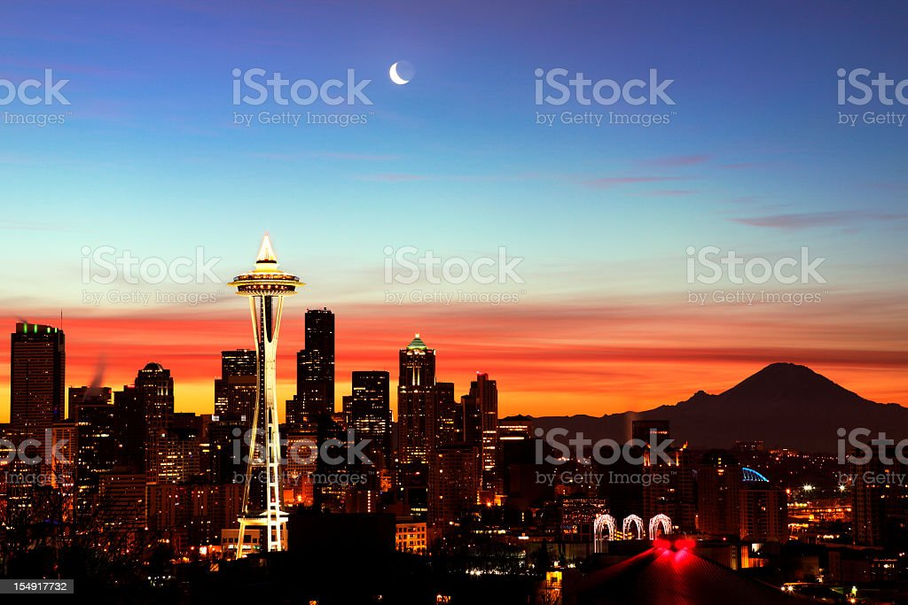 Sun rising over the city of Seattle royalty-free stock photo