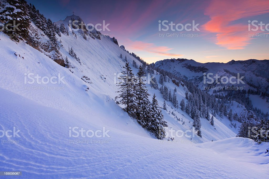 sun set at mt. tegelberg, bavarian alps, germany royalty-free stock photo