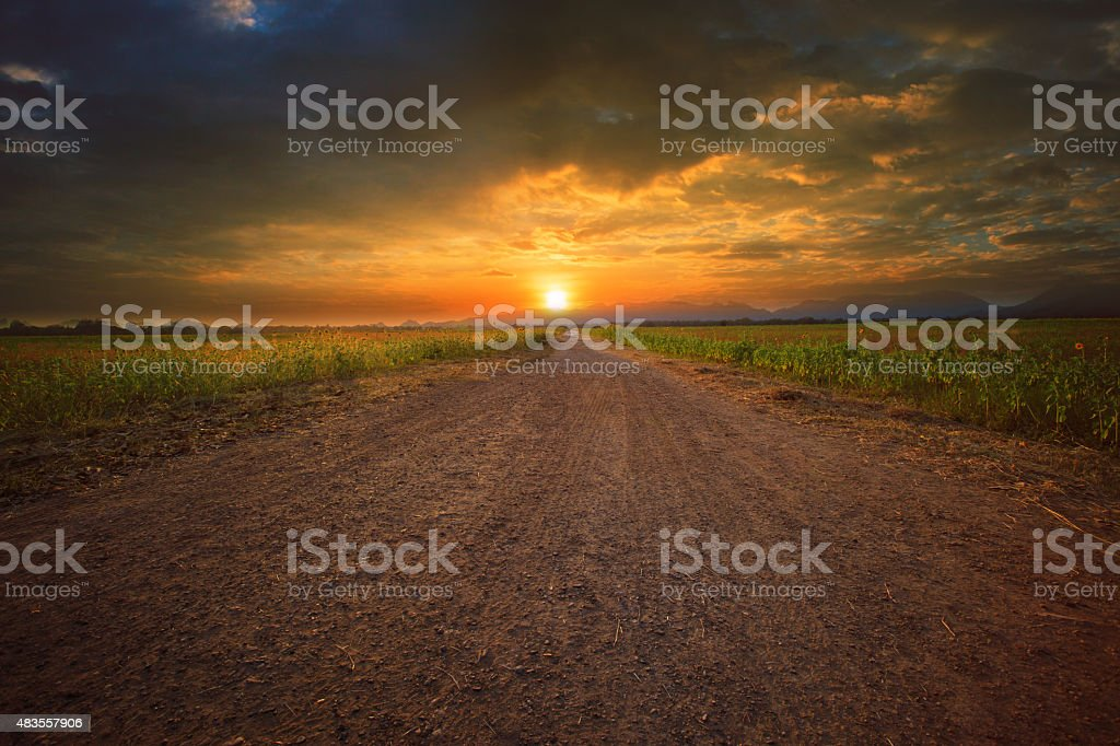 sun set on end of dusty road stock photo