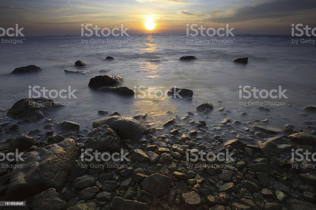 sun set on sea scape royalty-free stock photo