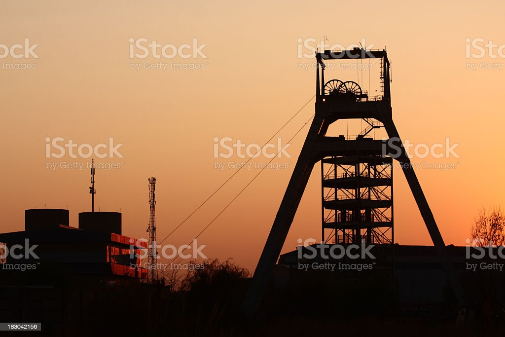 Sun set view of a gold mine in Johannesburg , South Africa stock photo