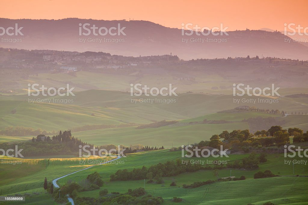 sun set view on val d'orcia, tuscany, italy royalty-free stock photo