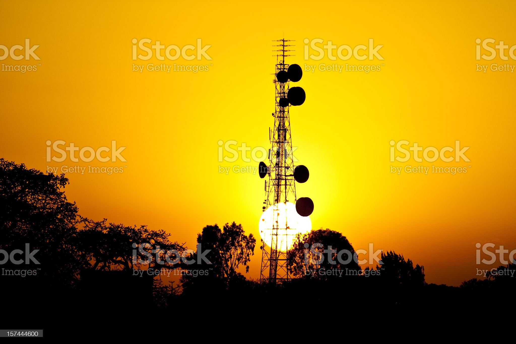 Sun sets behind African telecoms tower royalty-free stock photo