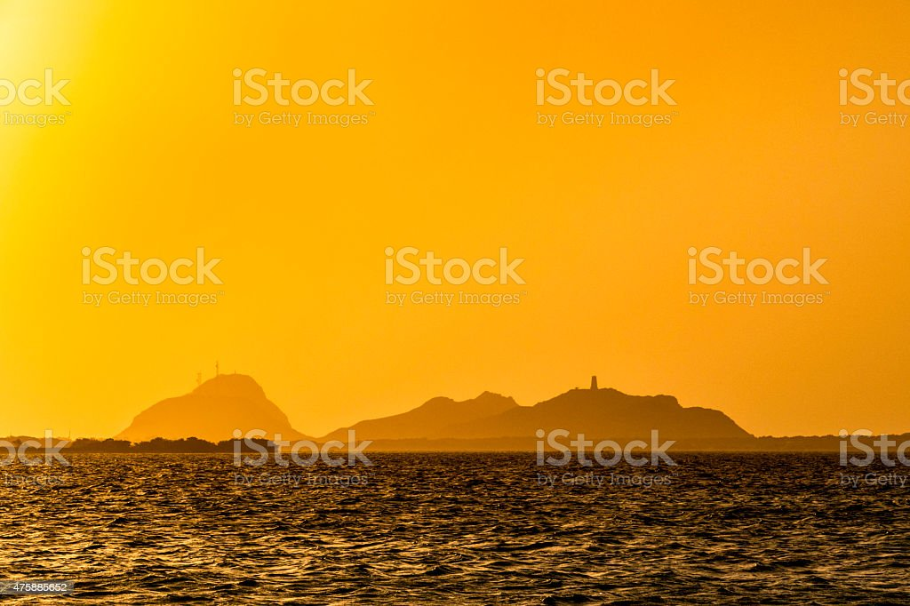 Sun setting at a tropical island in the Caribbean stock photo