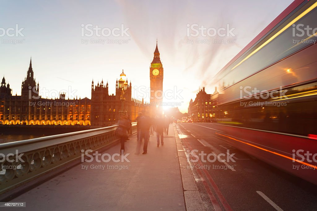 Sun setting behind Big Ben in London. stock photo