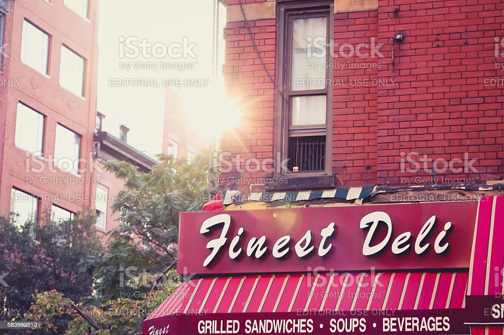 Sun setting behind buildings in greenwich Village. stock photo