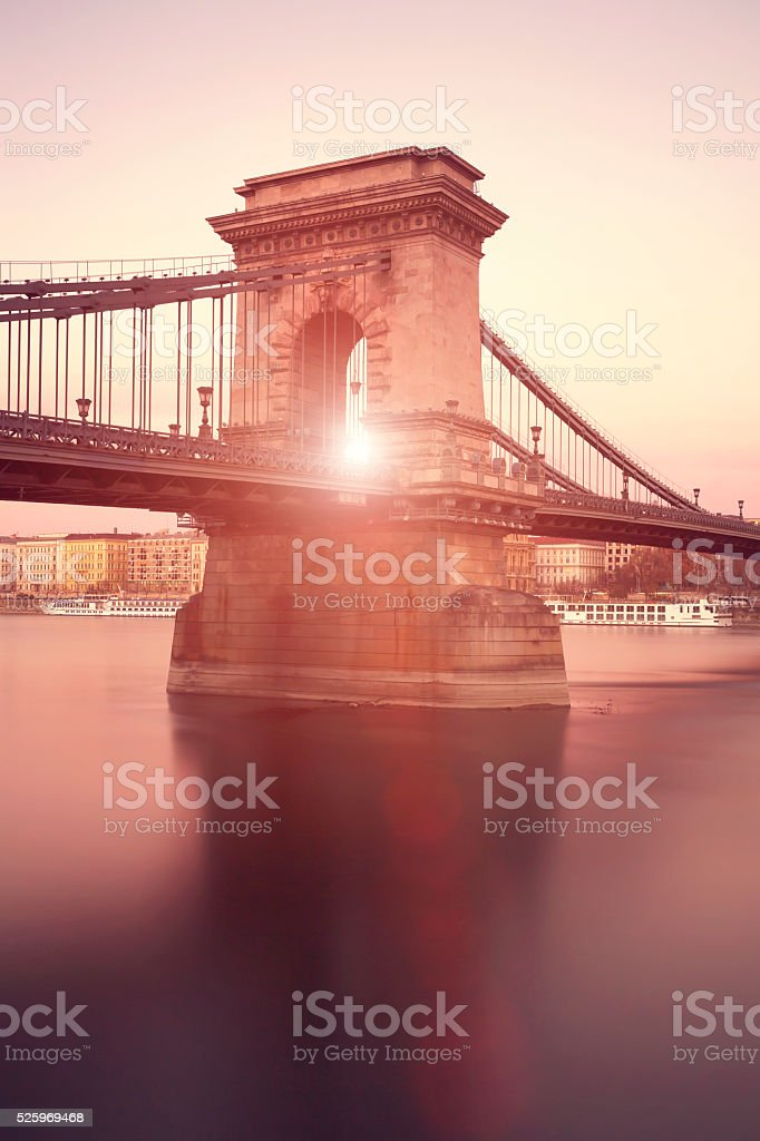 Sun setting behind Chain Bridge in Budapest stock photo