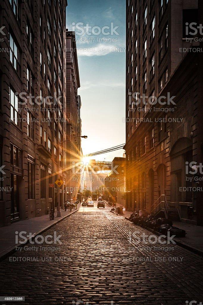 Sun Setting in DUMBO stock photo