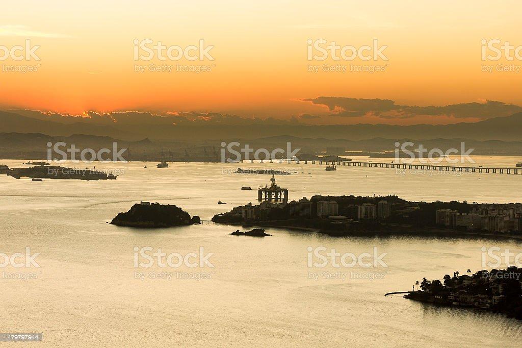 Sun Setting in Guanabara Bay, Rio de Janeiro stock photo