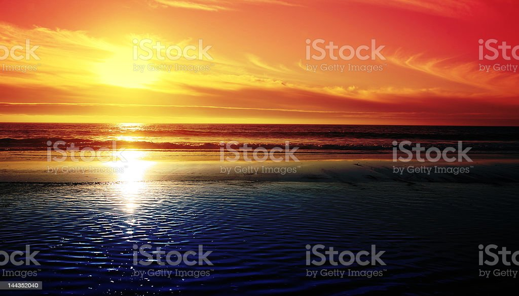 Sun Setting in the West stock photo