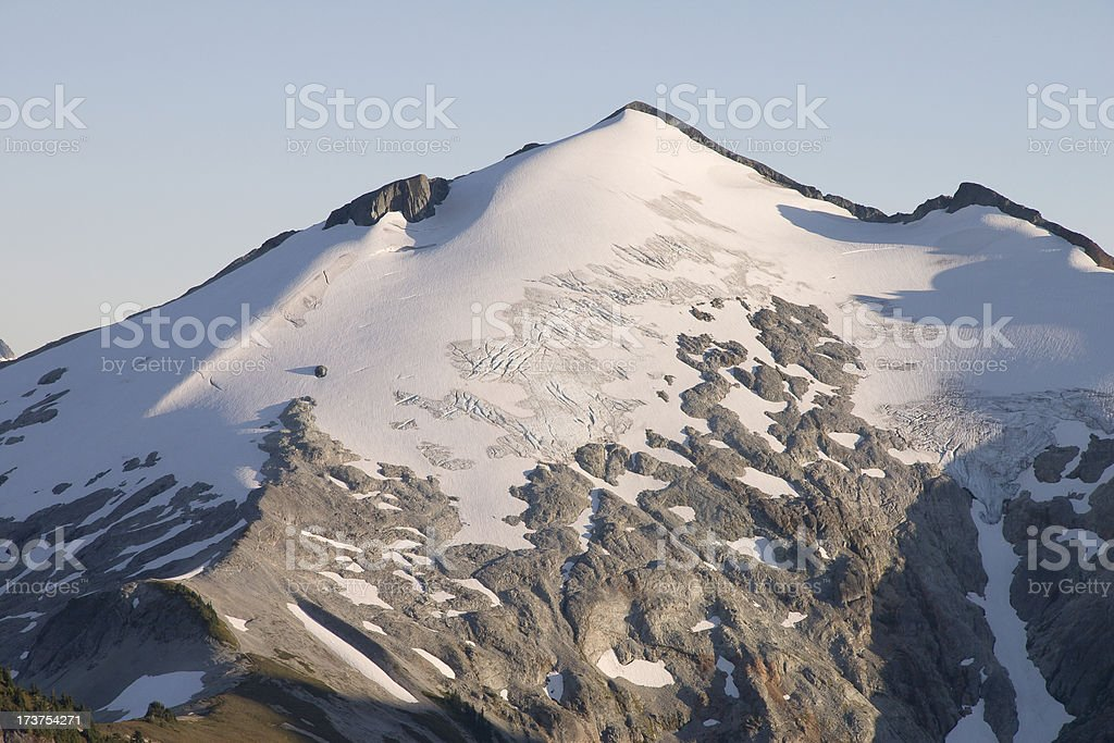 Sun setting on Mount Ruth glacier crevasses royalty-free stock photo