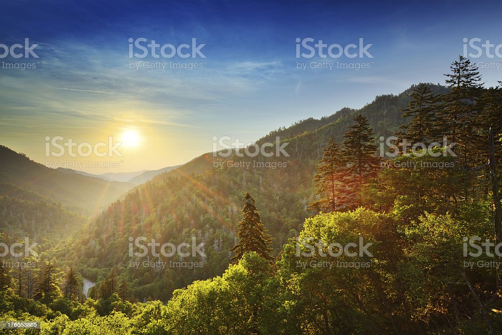 Sun setting on New Found Gap Great Smoky Mountains stock photo