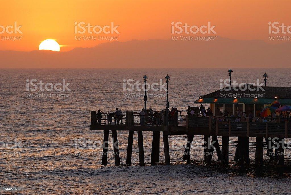 Sun Setting on Redondo Beach Pier royalty-free stock photo