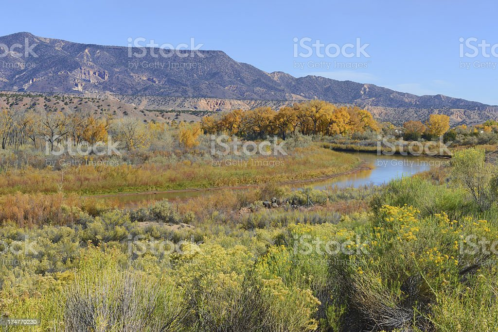 Sun setting on the Rio Grande River royalty-free stock photo