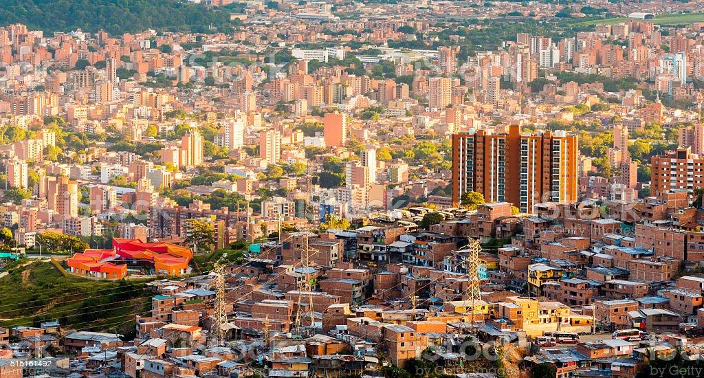 Sun setting over Medellin in Colombia stock photo