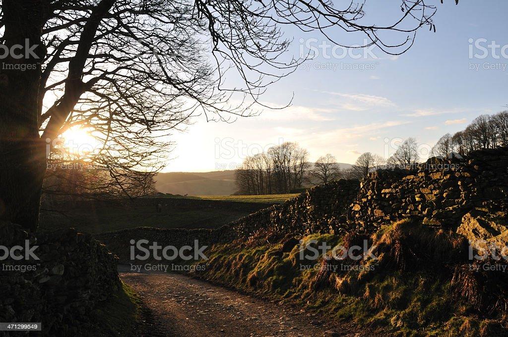 Sun setting over Near Sawrey. stock photo