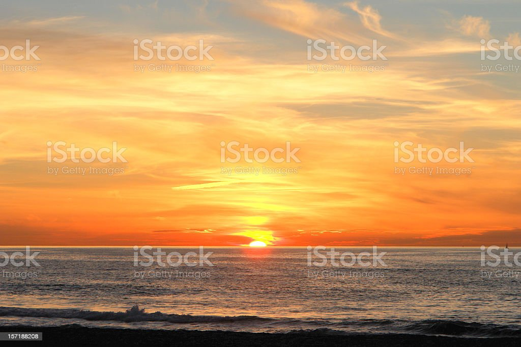 Sun Setting Over Pacific royalty-free stock photo