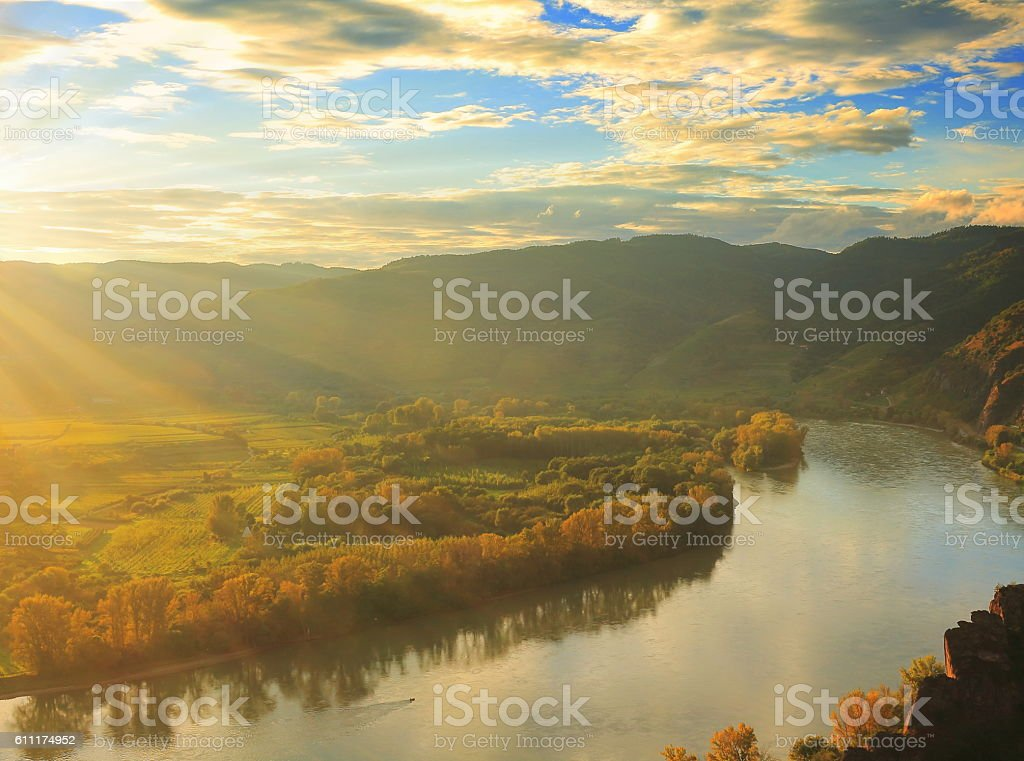 Sun setting over the Danube stock photo