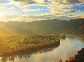 Sun setting over the Danube