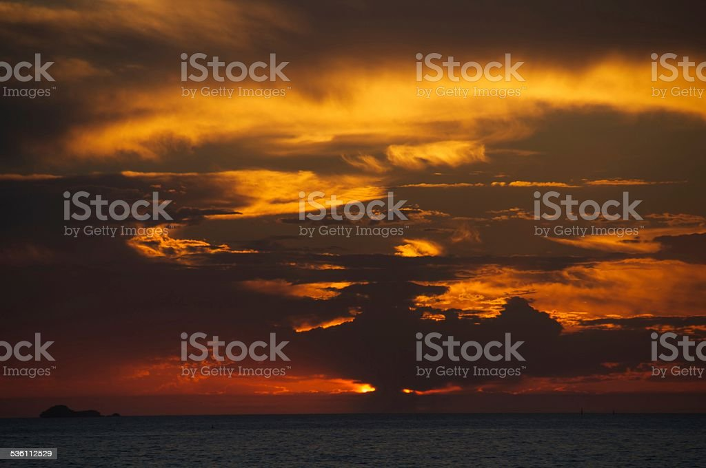 Sun Setting over the Ocean royalty-free stock photo