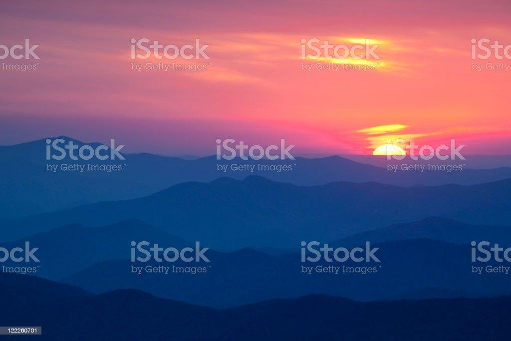 Sun setting over the Smoky Mountains stock photo