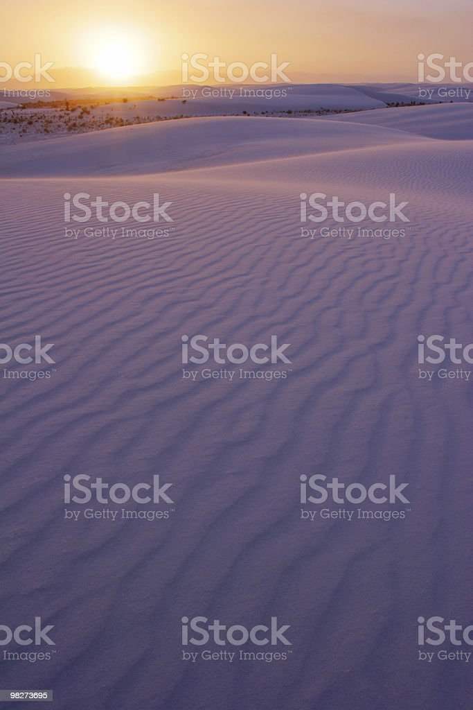 Sun Setting over the White Sands of NM stock photo
