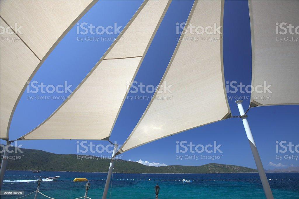 Sun shade sails stock photo